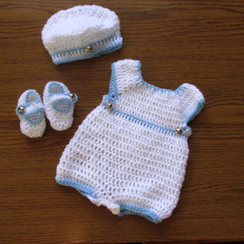 Baby Boy Coming Home Outfit, Baby Boy shortall, Newborn Boy pants booties , Baby Boy Hat, Baby Crochet Pants, White Boy coming Home set