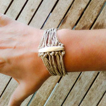Boho Cuff Bracelet, Multi strand Knotted Bracelet,  Natural Hemp cord Bracelet, Summer Jewelry, Fiber Jewelry, Beige Taupe and silver color