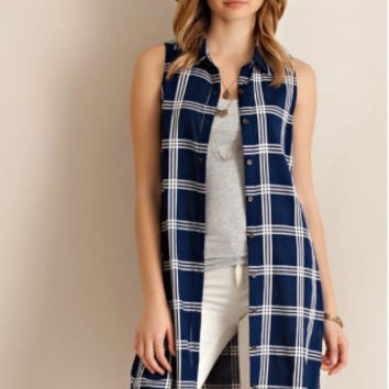 Natalie Navy Plaid Top