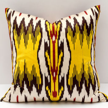 15x15 ikat cushion cover, yellow red white ikat pillow yellow red pillow, ikat pillow, pillow cover cushion case