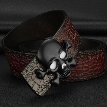 High Quality Skull buckle luxury belts mens Pirate Crocodile Grain designer wide belts Cowskin genuine leather cintos masculinos - Red Black buckle, 110cm