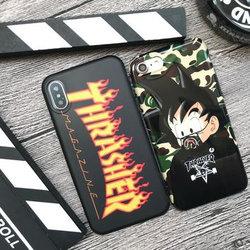 Hot skateboard Street flame soft silicon cover case for iphone 6 6S plus 7 7plus 8 8plus X Anime cartoon phone cases coque capa