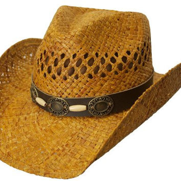 L/XL Tea Stained Raffia, Western Style Hat, with Vented Crown, Shapeable Brim, and Brass Colored Conchos & Wooden Beads