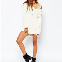 Winter V-neck Twisted Long Sleeve Knit Tops Simple Design Pullover Women's Fashion Sweater [6339002561]