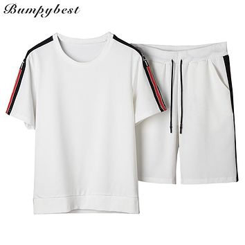 Summer Men Tracksuit Short Sleeve T shirt Shorts Two Piece  Men Pure color side printing Sportswear Set