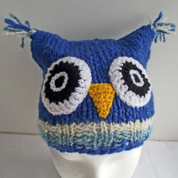Child's Owl Hat, Blue Handspun Knitted Hat, Blue Merino Handspun Knitted Hat, Royal Blue Owl Hat, Handspun Knit Child's Owl Hat