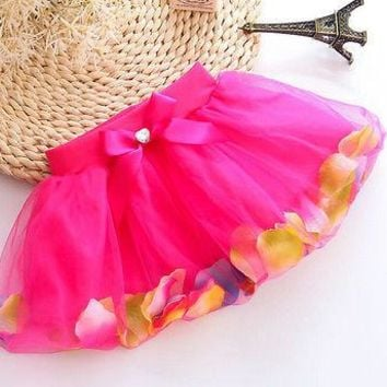 Hot Baby Clothes Kids Girls Petals Tutu Skirt Princess Party Skirt Tulle GownFance Dance Skirt 3-8Y