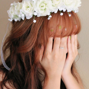 White Flower Crown, Ivory Flower Headband, Wedding Flower Hair Crowns, Wedding Hair Accessories, Flower Girl Crowns, Bridal Hair Accessories