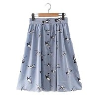 Sweet Birds Print Mid-calf Striped Skirts Open Stitch
