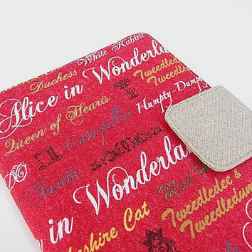 Kindle Cover Kindle Fire Cover Nook Simple Touch Cover iPad Mini Cover Kobo Cover Case Alice in Wonderland Red eReader
