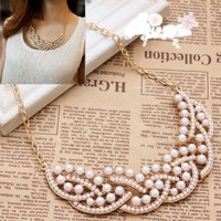 Wonderful Women/Girl Imitation Pearl Hollowed Golden Choker Bib Collar Necklace