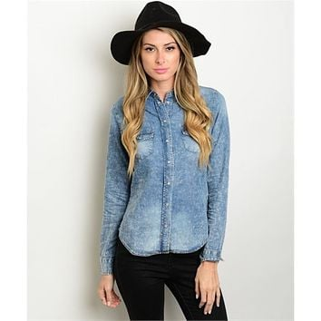 Women's Shirt Denim Button Down Long Sleeve
