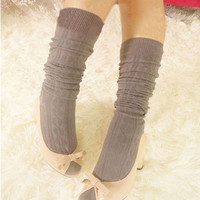1 Pair Vogue Cotton Women Knit Knee Thigh Stockings Spiral Pattern High Socks