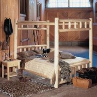 "82"" Cedar Log-Style Wooden Handcrafted King Canopy Bed Frame"