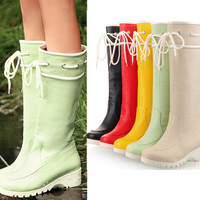 Fashion Lace Ups Women's Rain Boots Hot Tall Calf Knee High Wedge Heels