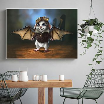 Abstract Paintings for Living Room Wall Art Canvas Prints Citters Rabbit Batman Pilot Baby Decoration Room Wall Picture Anime