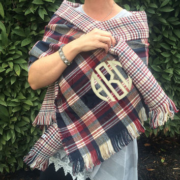 Monogrammed Double Sided Burgundy Tartan Plaid Houndstooth Blanket Scarf Wrap  Font Shown NATURAL CIRCLE in Ivory