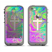 The Vector White Cross v2 over Neon Color Fushion Apple iPhone 5c LifeProof Fre Case Skin Set