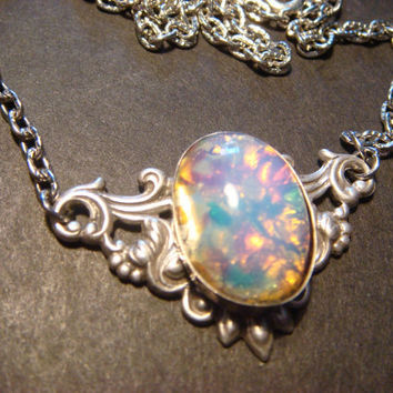 Fire Opal on Floral Setting Necklace in Antique by CreepyCreationz