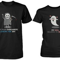 Halloween Matching Couple Shirts - Cute Skeleton and Ghost Couples