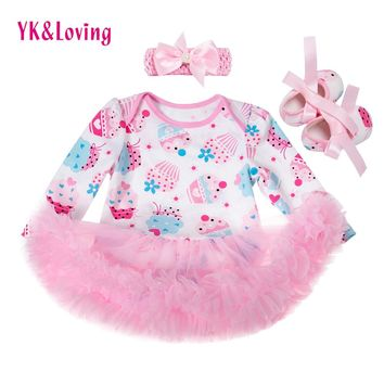 Newest Fashion Newborn Clothing Sets Long Sleeve Baby Girl Dresses Ice Cream Rompers Tutu Dress Gift 3pcs Infant Clothes Z532