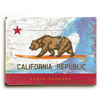 California Republic by Artist Peter Horjus Wood Sign