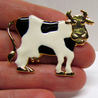 Vintage COW PIn Brooch, Black and White Enamel on gold tone metal, Holstein Dairy Cow