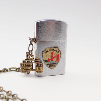 Handmade Lighter Necklace Vintage San Francisco Souvenir Cable Car Charm One of a Kind