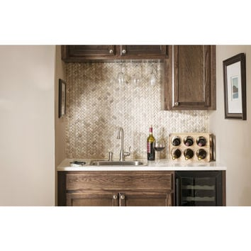 Shop American Olean Delfino Stone Emperador Unglazed Natural Stone Mosaic Basketweave Indoor/Outdoor Wall Tile (Common: 12-in x 12-in; Actual: 12.13-in x 11.63-in) at Lowes.com