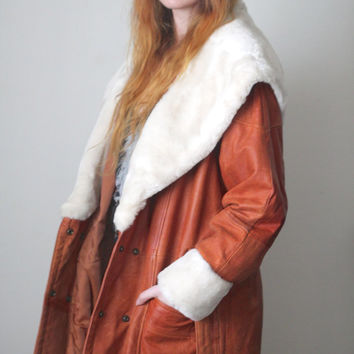 Vintage 70s / 80s Southwestern // Genuine Leather Jacket // Faux Fur // Brown Tan Cognac // Mid Long Length // One Size / Small Medium Large