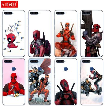 Silicone Cover Phone Case For Huawei Honor 7A PRO 7C Y5 Y6 Y7 Y9 2017 2018 Prime Super Cool Marvel Deadpool