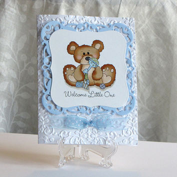 Welcome little one, boy, Hand crafted, Greeting Card, baby boy, teddy bear, embossed
