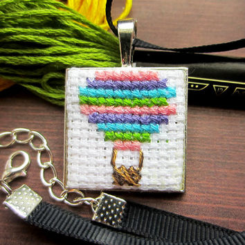 Hot Air Balloon Necklace, Cross Stitch Necklace, Handmade Necklace, Cute Necklace, Gift for Her, Colourful Pendant, Colorful Necklace