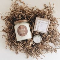 Lavender & Sage Spa Gift Set | Soy Wax Candle with Wooden Wick, Solid Fragrance Balm, Natural Lotion Body Bar, Natural Shea Butter Soap