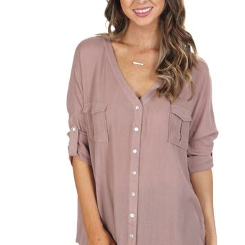 Criss-Cross Blouse Taupe