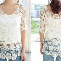 women Beige lace top in fashion off shoulder shirt Bohemian shirt Cotton