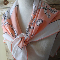 Vintage Scarf From Italy Manolo Borromeo Coral All Cotton