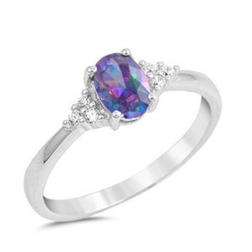 Sterling Silver Oval Rainbow Mystic Topaz and CZ Accented Ring