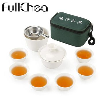 FullChea Set Chinese Travel Kung Fu Tea Set Ceramic Portable Teacup Porcelain Service Gaiwan Tea Cups Mug of Tea Ceremony Teapot