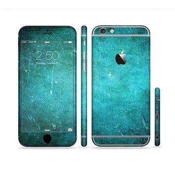 The Grunge Green Textured Surface Sectioned Skin Series for the Apple iPhone 6s