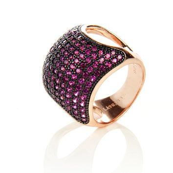 22ct Rose Gold Vermeil Micro Pave Statement Cocktail  Cushion Ring - Ruby Zircon