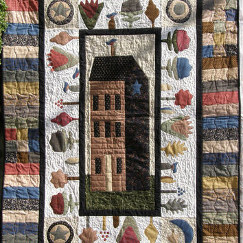 Quilted Wall Hanging Garden House Quilt Art Quilt Applique Quilt Black Tan Red Cream Quilt Americana Primitive Quilt