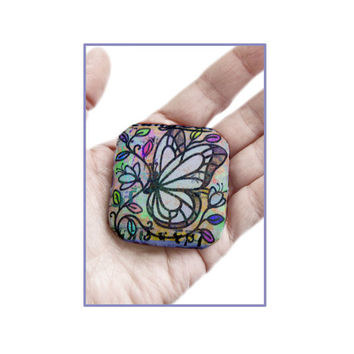 Butterfly, handmade fabric brooch/pin made with printed silk with butterfly illustration