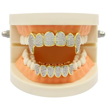 18k Micro Pave Fanged Grillz