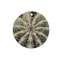 "Angie Turner ""Cactus"" Plant Ceramic Circle Ornament"