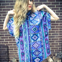 Vintage Blue Purple Teal Tribal Oversized Button Up Blouse