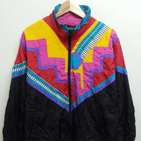 Vintage 80s INDICATIONS Royalty Swag Baroque Neon Colourfull Winbreaker Nylon Hip Hop Bomber Jackets