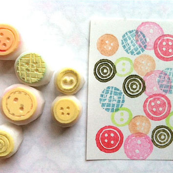 button stamp. sewing button hand carve rubber stamp. making cards/gift tags. set of 6