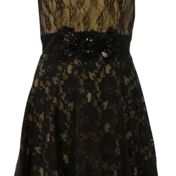 Betsy & Adam Women's Beaded Illusion Lace Overlay Dress