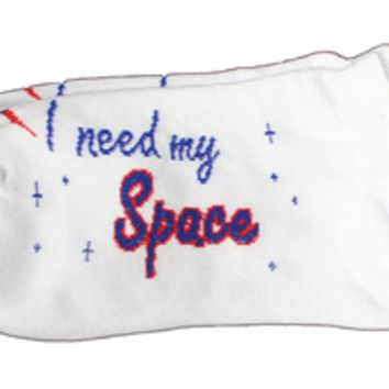 Space Ties - Mens I Need My Space Ankle Socks - White